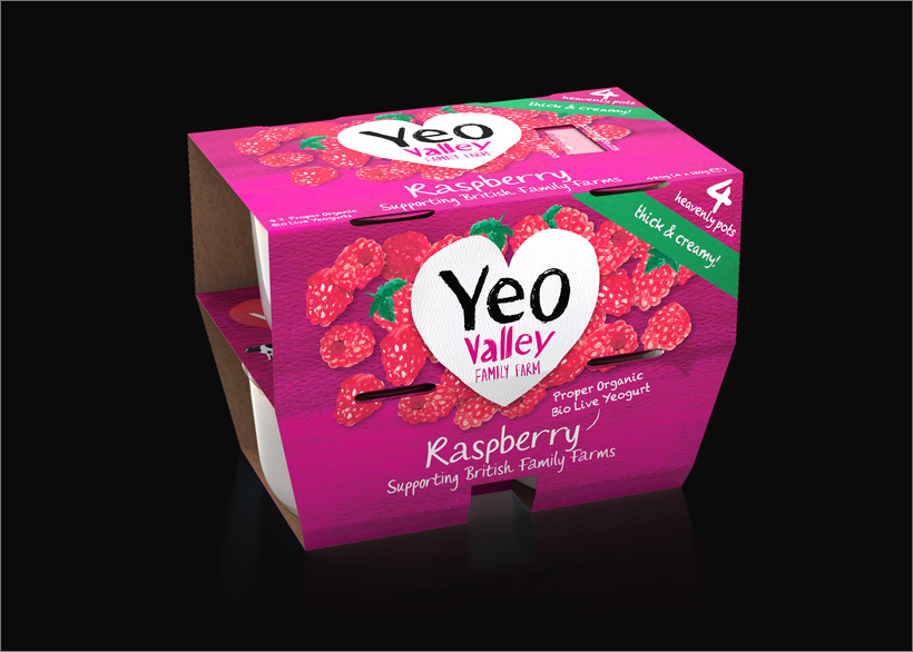 Yeo Valley 3D Yogurt 4-Pack Visualisation Packaging