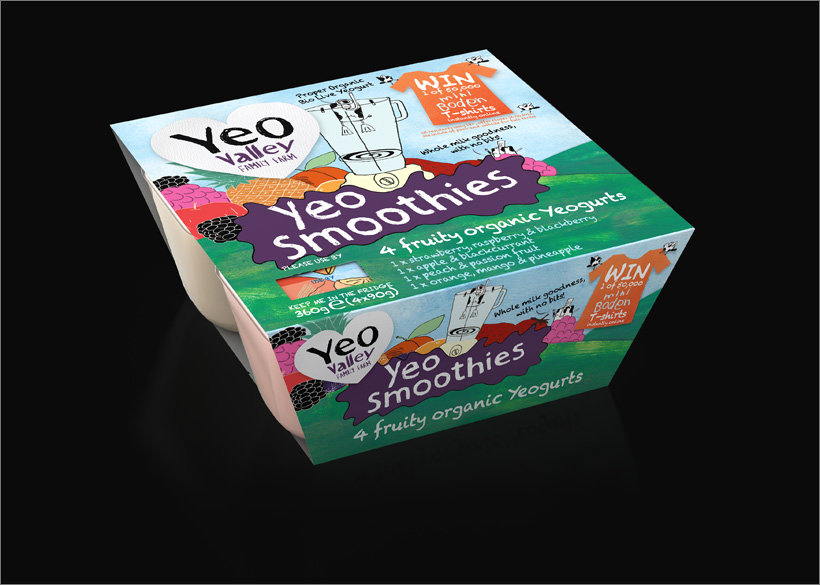 Yeo Valley 3D KIDS Yogurt 4-Pack CGI Packaging